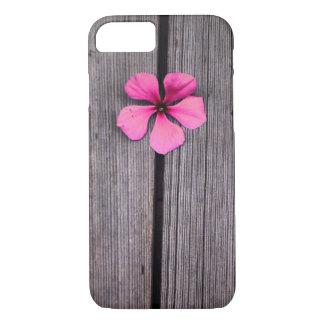 Caja rosada linda del grano de la flor y de madera funda iPhone 7