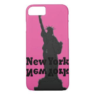Caja rosada y negra New York City del iPhone Funda iPhone 7