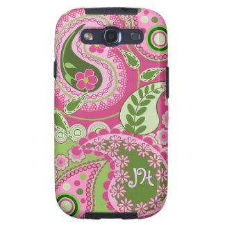 Caja rosada y verde de Paisley con el monograma Samsung Galaxy S3 Fundas