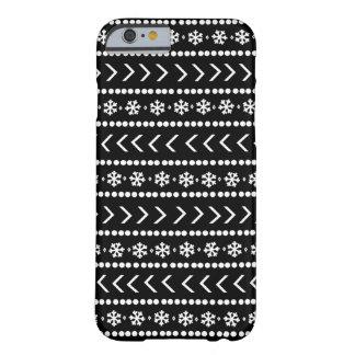 Caja rugosa del teléfono de la nieve - negro funda barely there iPhone 6