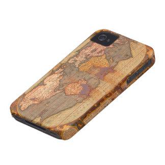 Caja rústica del teléfono del mapa de Viejo Mundo iPhone 4 Case-Mate Coberturas