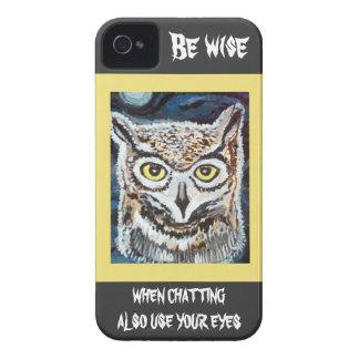 Caja sabia del teléfono del búho I iPhone 4 Cárcasa