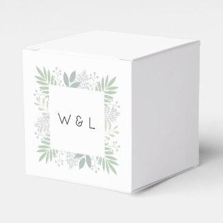 Caja verde del favor del boda del follaje