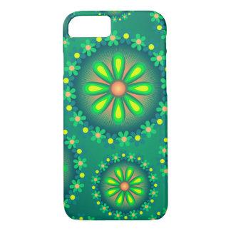 Caja verde y amarilla de la flor funda iPhone 7