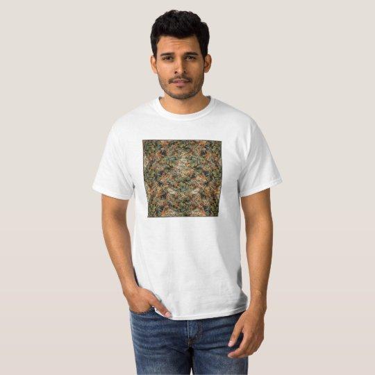 Caja verde y anaranjada camiseta