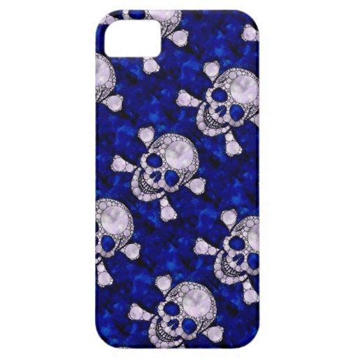 Cajas azules del iphone de Bling Skull&Bones iPhone 5 Case-Mate Carcasas