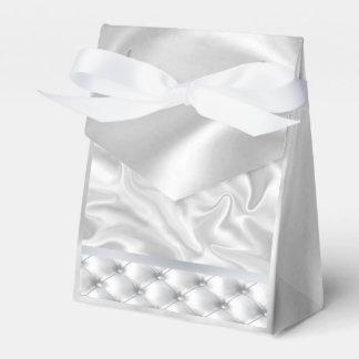 Cajas blancas del favor del edredón del satén