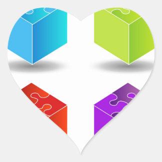 cajas con el tejado del rompecabezas pegatina en forma de corazón