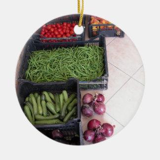 Cajas de la fruta y verdura adorno redondo de cerámica