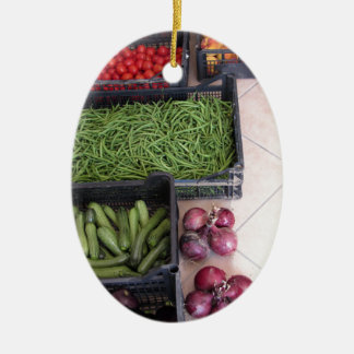 Cajas de la fruta y verdura adorno ovalado de cerámica