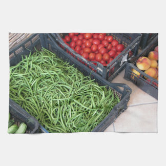 Cajas de la fruta y verdura toallas de cocina