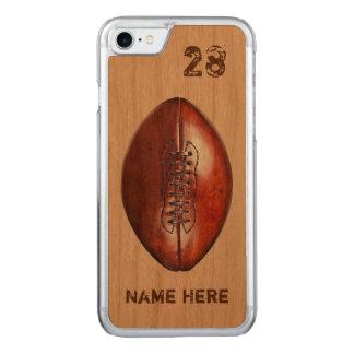 Cajas de madera reales del fútbol del teléfono, funda para iPhone 7 de carved