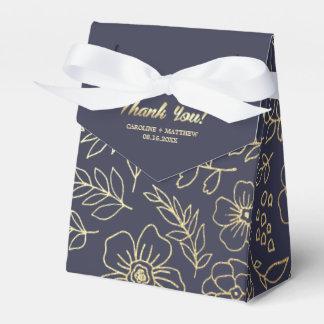 Cajas florales del favor del boda del oro de los