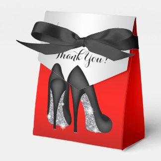Cajas negras rojas elegantes del favor del zapato