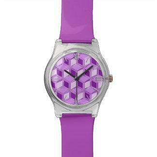 Cajas tridimensionales del cromo - púrpura violeta relojes de mano