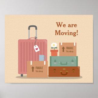Cajas y maletas retras que nos estamos moviendo póster