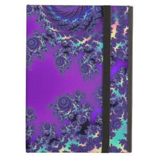Cajas y mangas púrpuras del monograma del fractal funda para iPad air