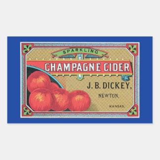 Cajón de Apple del vintage de la sidra de Champán Pegatina Rectangular