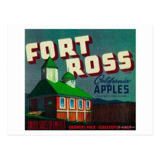 Cajón LabelSebastopol, CA de Ross Apple del fuerte Postal