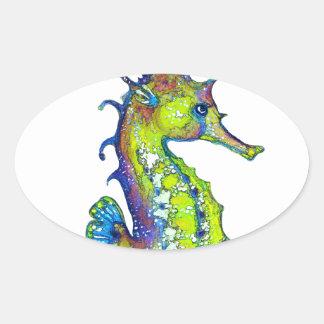Cal manchada de tinta del Seahorse Pegatina Ovalada
