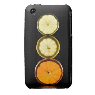Cal, pomelo, limón, fruta, fondo negro carcasa para iPhone 3