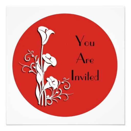 Cala blanca de la invitación en rojo