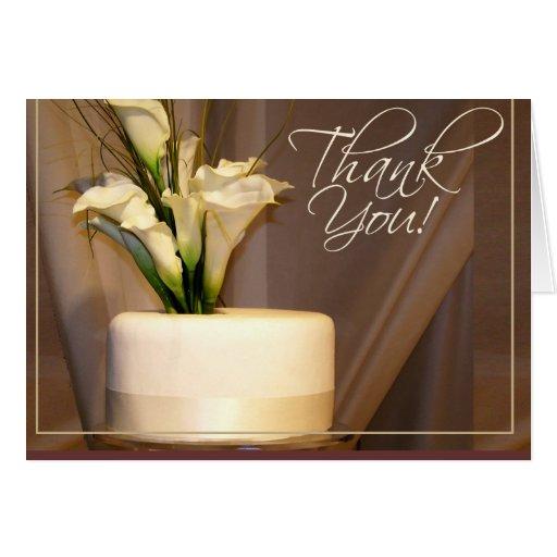 ¡Cala y pastel de bodas - gracias! Tarjeta De Felicitación
