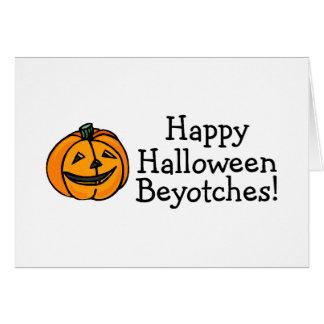 Calabaza de Beyotches del feliz Halloween Tarjeton