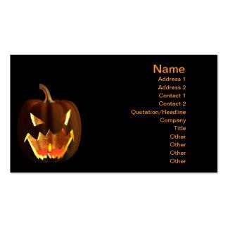 Calabaza de Halloween en negro Plantillas De Tarjetas De Visita