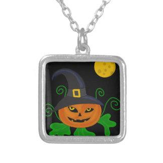 Calabaza de Halloween - gorra de la bruja Colgante Cuadrado