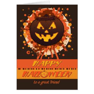 Calabaza de Halloween, para el amigo, Grunge, Tarjeta De Felicitación