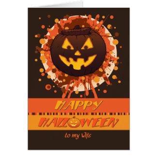 Calabaza de Halloween para la esposa - el amenazar Tarjeta De Felicitación