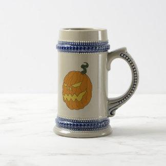 Calabaza de Halloween que bebe a Stein Jarra De Cerveza