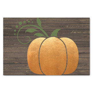 Calabaza de madera rústica del otoño del oro papel de seda
