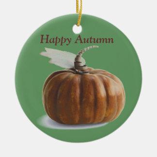 Calabaza de otoño adorno navideño redondo de cerámica