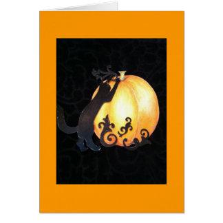 calabaza decorativa con el gato negro felicitación