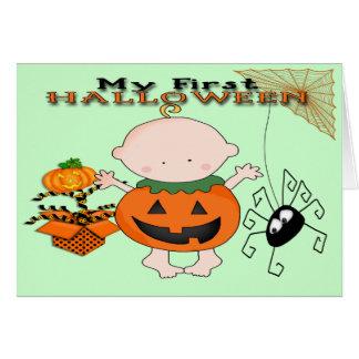 Calabaza del bebé mi 1ra tarjeta de felicitación