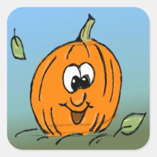 Calabaza del feliz Halloween - linterna de Jack-o Pegatina Cuadrada