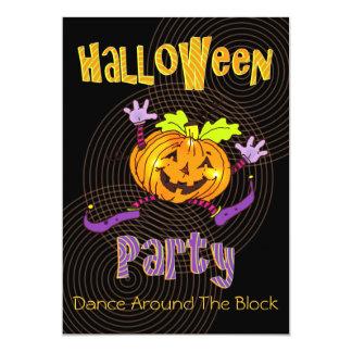 Calabaza feliz de la fiesta de barrio de Halloween Invitación 12,7 X 17,8 Cm