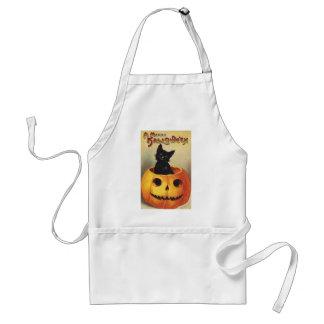 Calabaza linda sonriente del gato negro de delantal