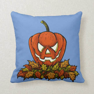calabaza sonriente malvada de Halloween Cojín