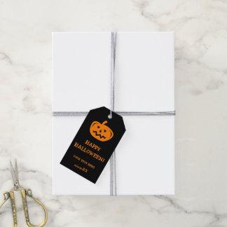 Calabaza tallada de encargo del favor de fiesta etiquetas para regalos