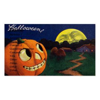 Calabaza y la luna (tarjeta de Halloween del vinta Plantillas De Tarjeta De Negocio