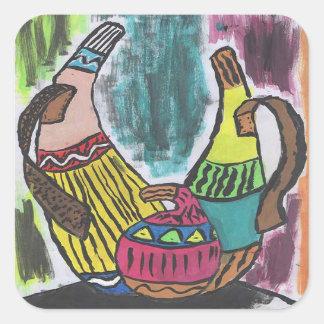 Calabazas africanas pegatina cuadrada