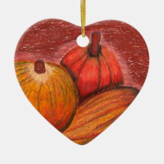 Calabazas de la caída adorno navideño de cerámica en forma de corazón