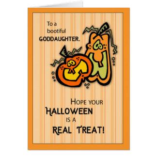 Calabazas Halloween de la ahijada Tarjeta De Felicitación