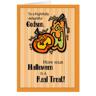 Calabazas Halloween del ahijado Tarjeta De Felicitación