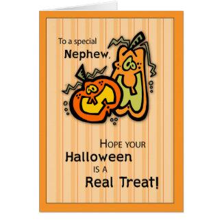 Calabazas Halloween del sobrino Tarjeta De Felicitación