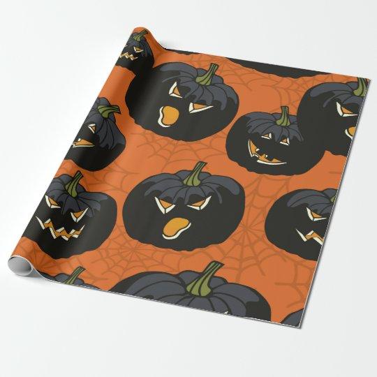 Calabazas negras de Halloween en el naranja Papel De Regalo