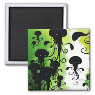 calamar fantasmagórico de las medusas del imán de